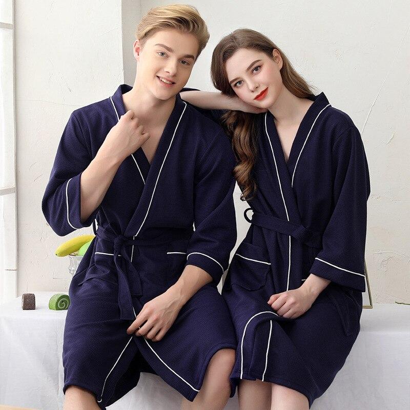 Gofre amantes Albornoz ropa de dormir Casual mujeres Kimono bata camisón ropa para casa suave ropa de dormir