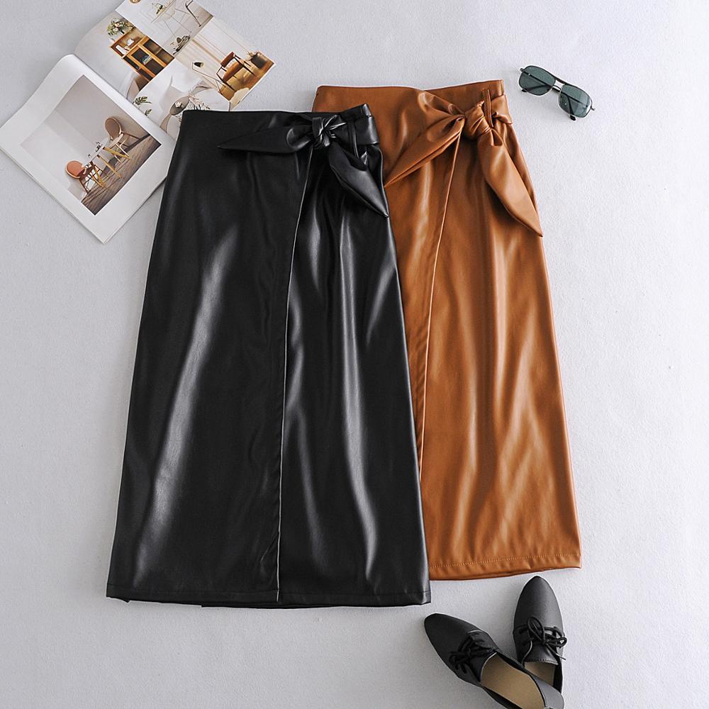 2020 outono moda simples laço-up couro saia longa saco hip saia Y12-35512