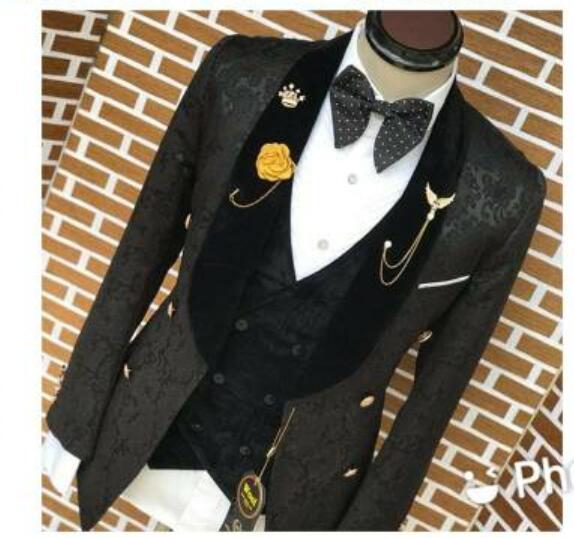 2021 عالية الجودة Terno بدلة سوداء ضيقة من الخصر الجاكار التدخين سترة سهرة العريس بدلة حفلة للرجال 3 قطع الزفاف أفضل رجل السترة