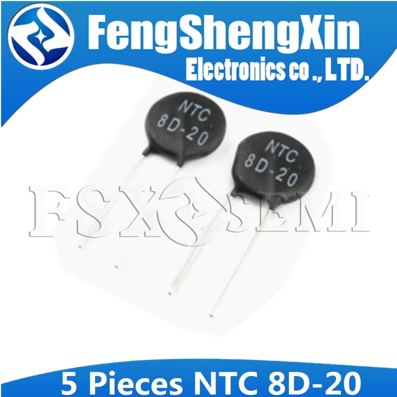 Resistor térmico ntc 8d-20 do termistor de 5 pces NTC8D-20