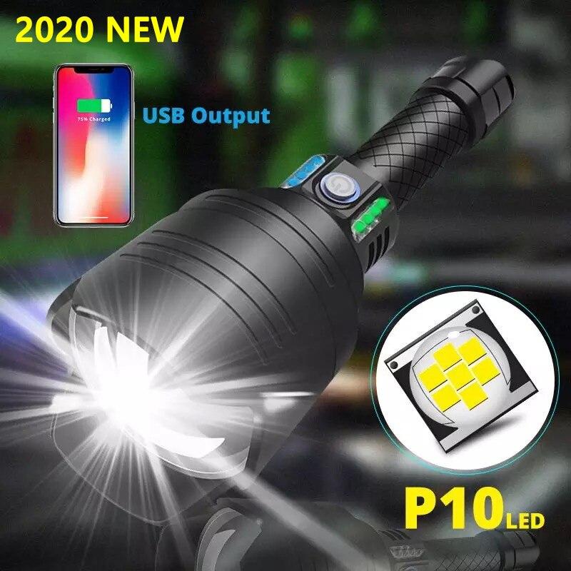 2020 nuevo Super 7core P10 linterna LED 52W 18650 Zoom lámpara poderoso antorcha reflector de banco de potencia Camping caza lámpara de trabajo negro