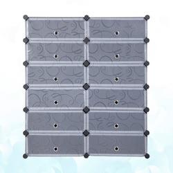 Armário modular empilhável do armário do organizador de armazenamento plástico diy da cremalheira da sapata 12-cube com portas