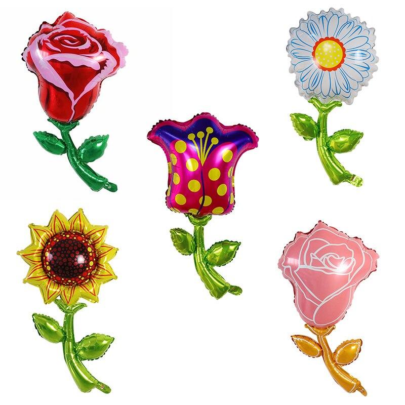 بالونات ألمنيوم على شكل وردة للشمس ، 50 قطعة ، زهور وهمية ، لأعياد الميلاد ، الزفاف ، عيد الحب ، ألعاب الأطفال