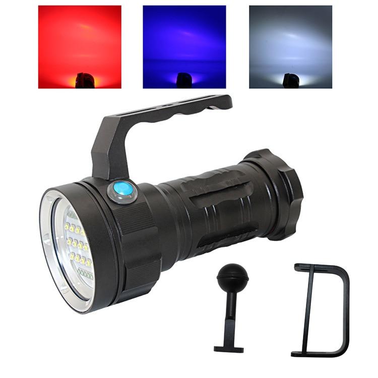 Superpotência portátil subaquático max 5000 lumens fotografia mergulho vídeo lidar com luz azul/vermelho e branco d005
