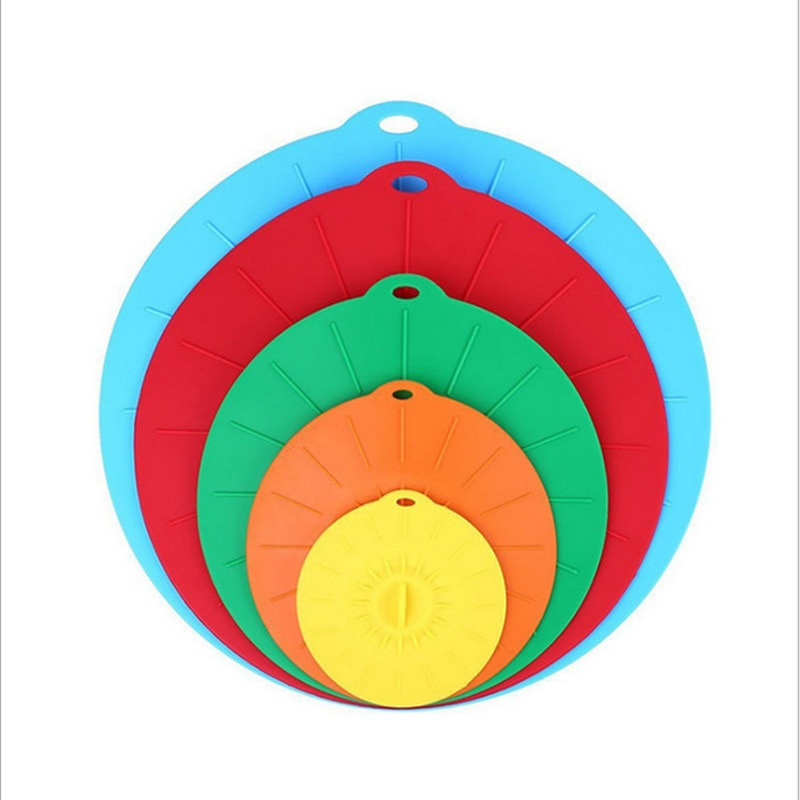 5-piece silicone fresh-keeping cover Creative kitchen food sealed bowl lid Food-grade environmentally-friendly stretch