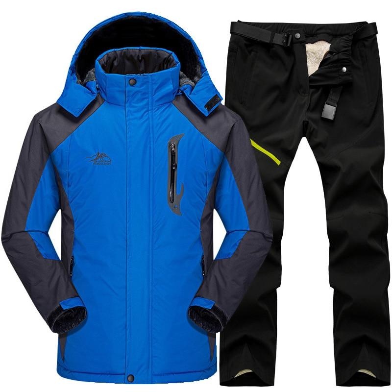 Winter Ski Suit Men Snow Skiing Jackets + Pant Set Outdoor Thermal Waterproof Windproof Snowboard Camping Hiking Jackets Set