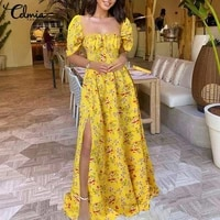 women fashion floral print dress celmia 2021 square collar floor length sundress pleated hem slit vestidos summer holiday robe
