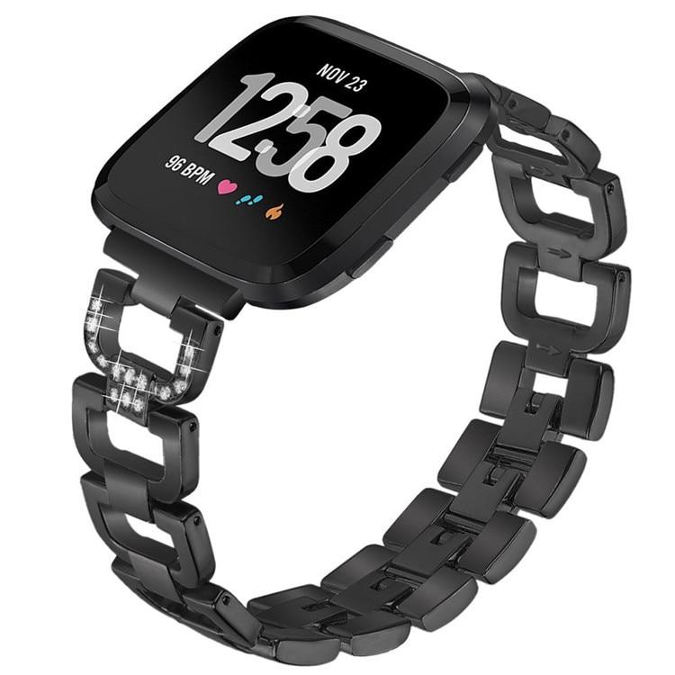 Pulseira de aço inoxidável para fitbit versa relógio inteligente três grânulo diamante metal pulseira substituição acessórios relógio