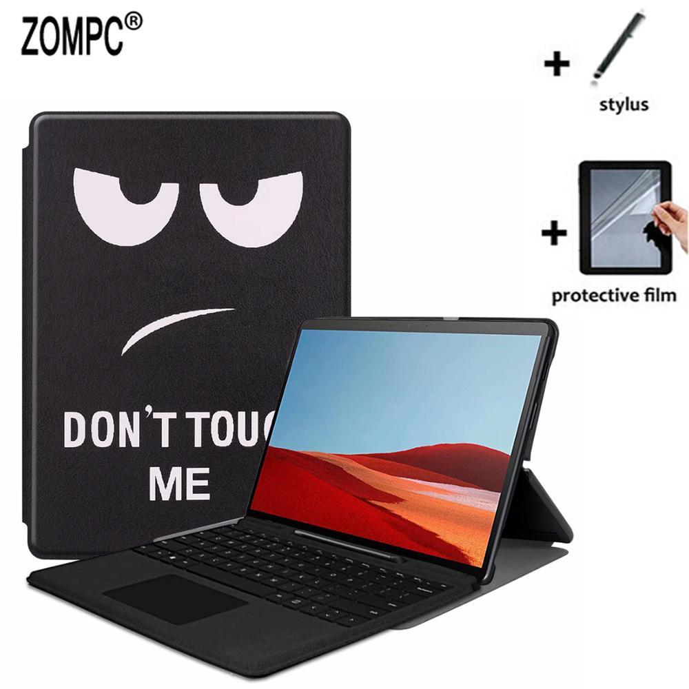 """Funda de cuero ligera 3in1 Utra Slim Folio soporte + Protector de pantalla suave + lápiz óptico para Microsoft New Surface Pro X 13 """"Tablet"""
