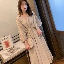 Casual Women's Chiffon Elegant Retro Trend Mid Sleeve Spring Summer Mid Length Dress 2021 New Loose