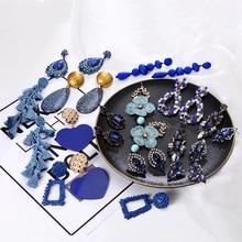 Ztech Za nowy niebieski styl Vintage Crystal Drop dynda kolczyki biżuteria Trendy Lady kreatywne kolczyki akcesoria hurtownia