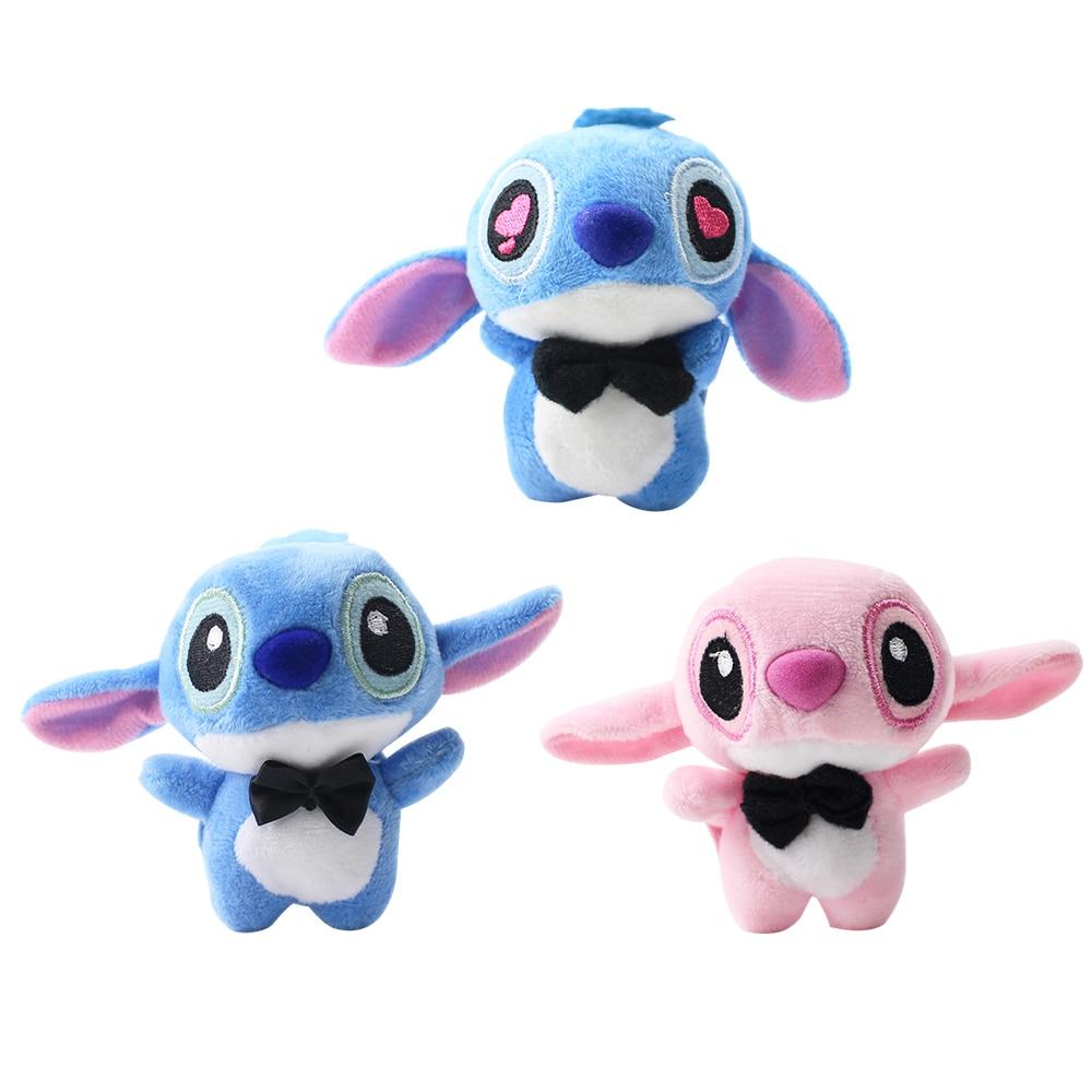 10pcs/set 8cm Lilo and Stitch Plush Doll Keychains Big Eyes Pink Style Soft Stuffed Plush Toys Pendant