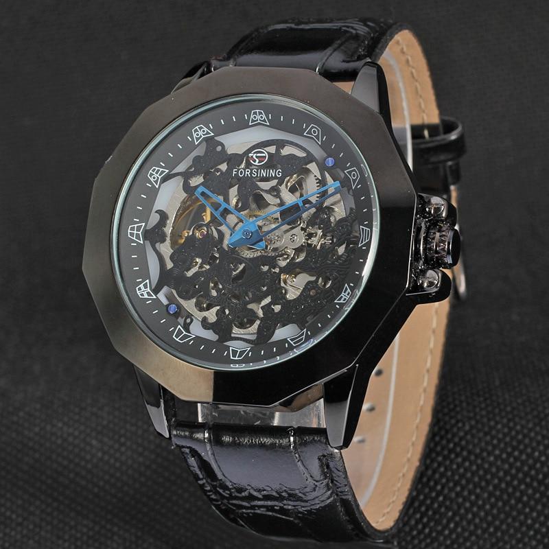 Europeia e Americana Moda Masculina Casual Retro Relógio Mecânico Automático Forsining1527 Oco