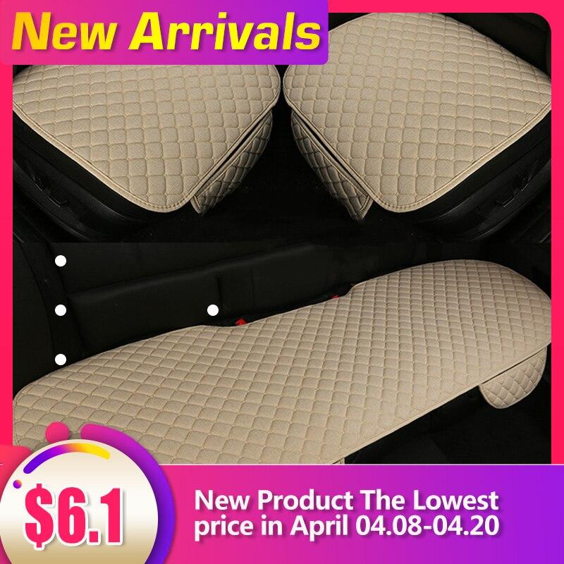Funda de asiento de coche, cojín de lino transpirable, Protector de asiento Universal, almohadilla de respaldo de asiento delantero, accesorio de coche adecuado para todos los modelos