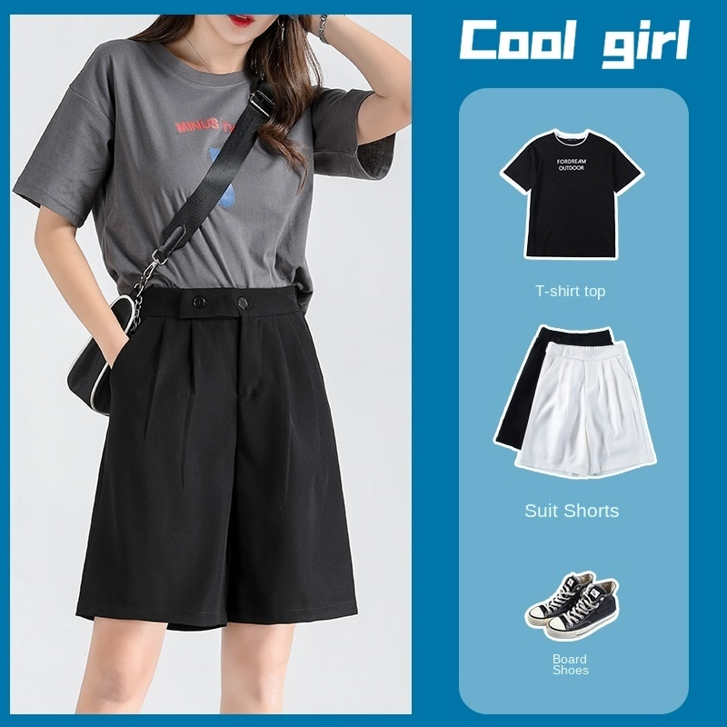 Fifth Suit Shorts Women's Summer Wear Loose Thin High Waist A- line Drooping Slimming Wide Leg Straight Middle Pants