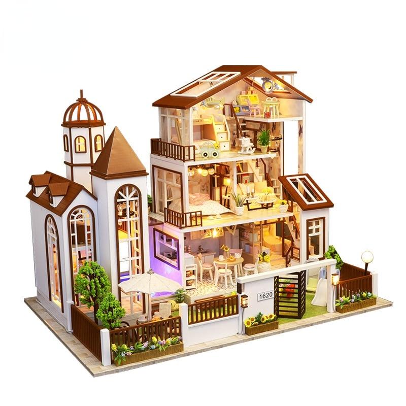 Handmade Children's Doll 44 Cm Creative Sand Table House Kit Miniature Villa Toy Miniature Doll House Furniture
