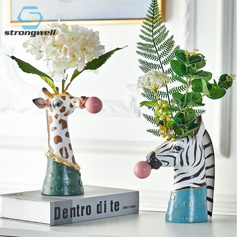 Strongwell nordic cartoon animal cabeça suculenta vaso de flores planta recipiente soprando bolhas veados artesanato decoração para casa presente
