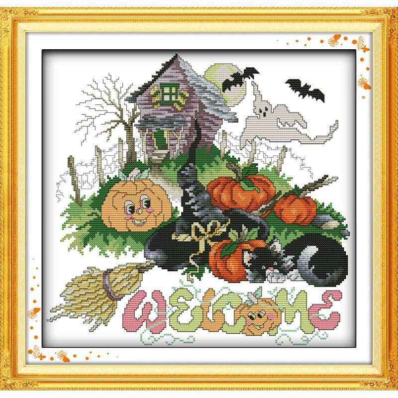 Halloween(1)(Pompoen) home Decoraties Kind Diy Handgemaakte Dmc Kruissteek Handwerken Borduren Tellen Patroon Op Canvas