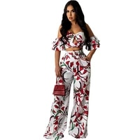 rstylish 2021 women casual floral printed off shoulder short sleeve crop tops long pants street wear summer two piece set