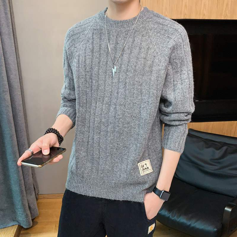Autumn and Winter New Men's round Neck Solid Color Sweater Korean Style Leisure Pullover Sweater Hong Kong Style Slim Fit