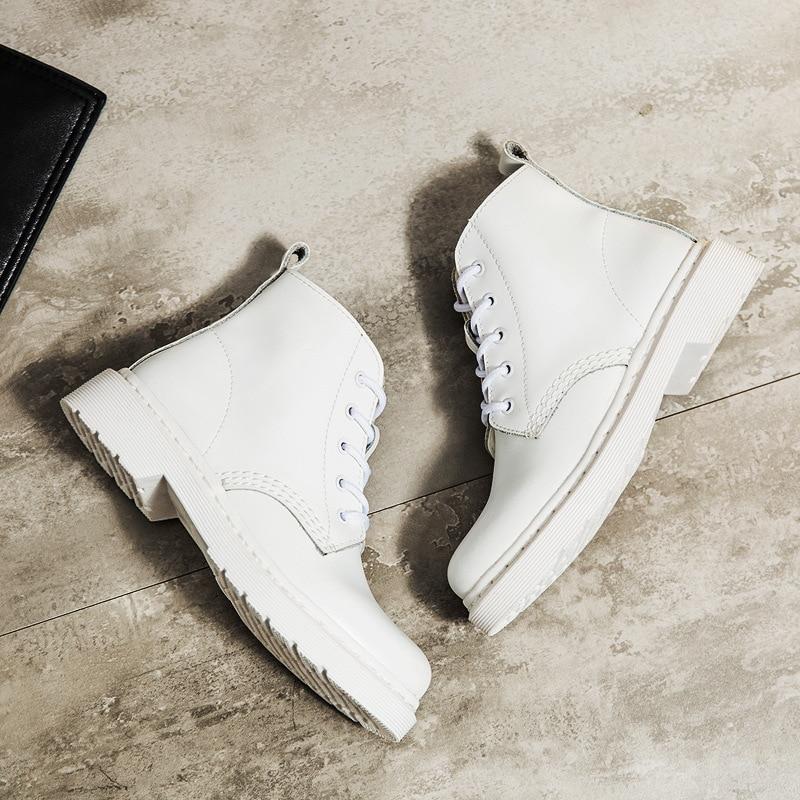 Britânico 2020 nova moda outono ankle boot sapatos femininos para senhora botas de couro genuíno branco militar botas da motocicleta respirável