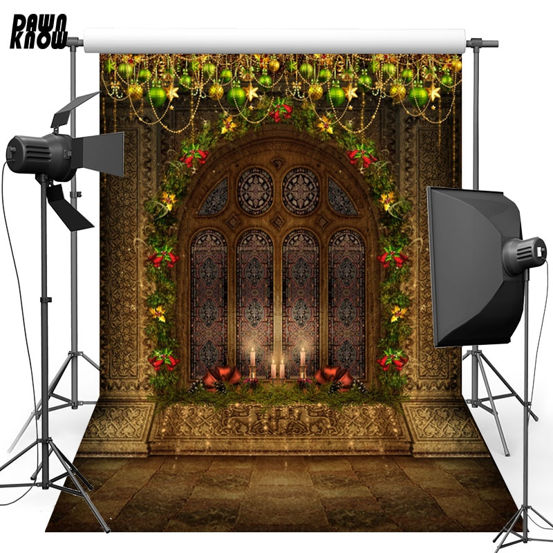 DAWNKNOW Window Vinyl Photography Background For Baby Small Bell Photo Shoot Backdrop For Christmas Photo Studio L818