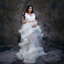 Pretty White Tulle Maternity Sleepwear Photography Props Bridal Robes Ruffle Sleeveless Women Nightgowns Plus Size Dress