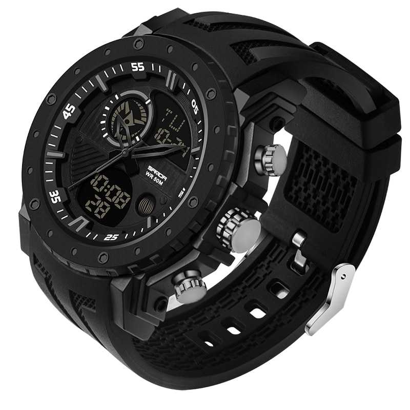 Gshock-ساعات رياضية للرجال باللون الأسود ، LED ، رقمية ، 5ATM ، مقاومة للماء ، g-Shock ، كرونوغراف Shok ، ذكر