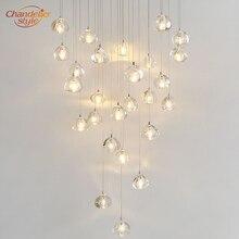 Lámpara de araña de Cristal moderna, colgante LED, colgante de bola de Cristal claro, lámpara de araña de Cristal para escalera, iluminación para el hogar