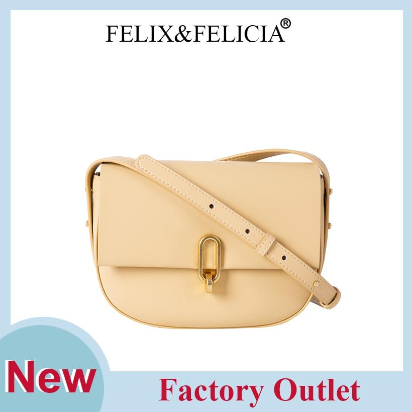 FELIX&FELICIA Factory Brand Fashion Shoulder Bag Women High Quality Luxury Designer Genuine Leather Crossbody Retro Saddle Bags