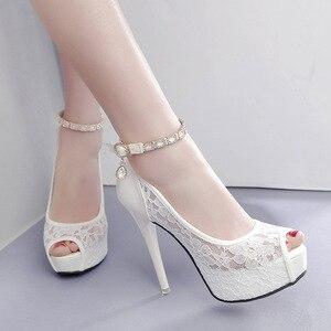Lace Wedding Shoes Woman Peep Toe High Heels Women Shoes Platform Heels Summer Pumps Women Shoes High Heel Sandals tacones mujer