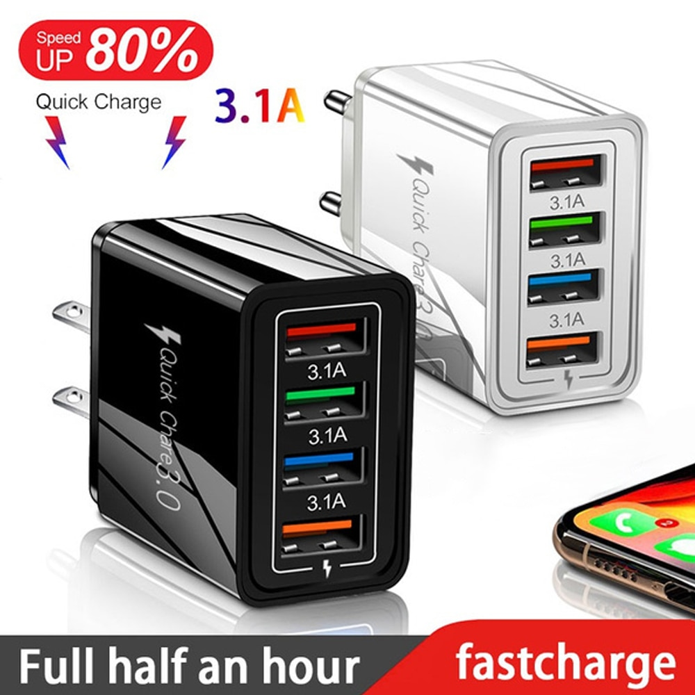 EU/US Plug USB Charger Quick Charge 3.0 For Phone Adapter for iPhone 12 Pro Max Tablet Portable Wall
