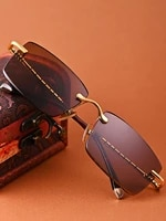 handmade luxury brand natural crystal stone lens square sunglasses trimmed brown mirror male female sun glasses spectacles