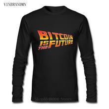 새로운 창조적 인 cryptocurrency 이진 bitcoin tshirts 남자 긴 소매 o 목 tee 유행 crypto 동전 bitcoin은 미래 t-셔츠이다