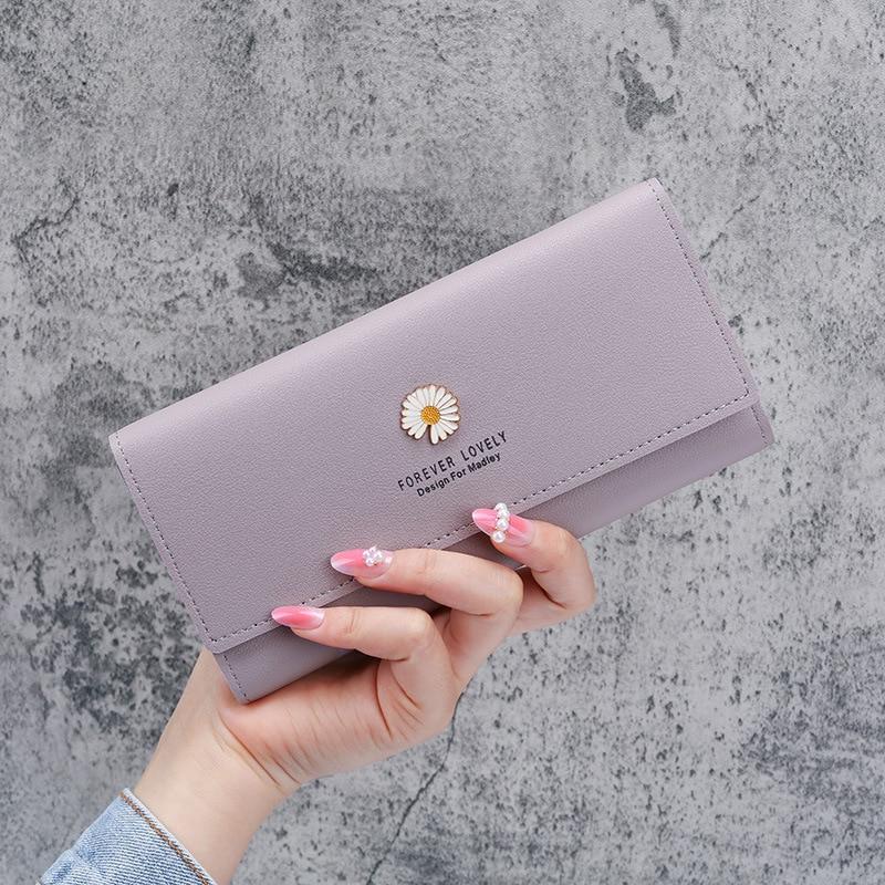 Minimalist Wallet Long Card Holder Ladies Coin Purse Wallets for Women Pink Flower Letter Hasp Credit Card Carteira Feminina