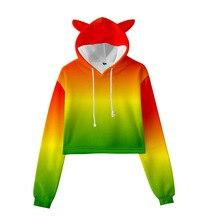 Enfants vêtements sweats à capuche dégradé couleur 3D impression numérique filles printemps et automne tendance recadrée oreilles de chat ZY58