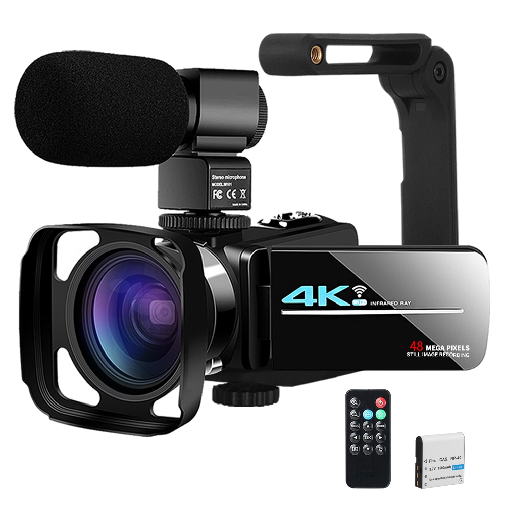 Video Camera YouTube Camera for Vlogging Live Streaming IR Night Vision UHD 4K Webcam 48MP 16X Digit