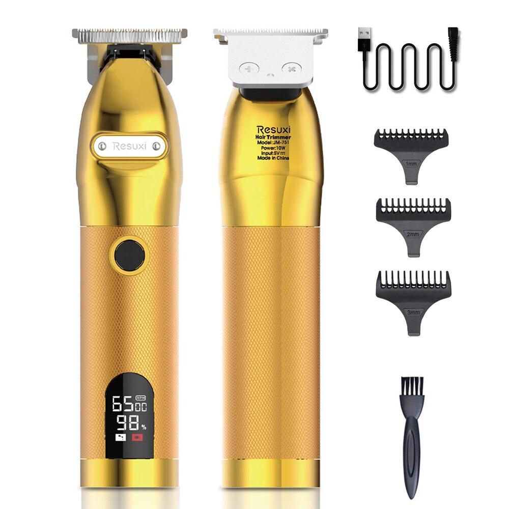 مقص الشعر المهنية اللحية الحلاق الشعر المتقلب قابلة للشحن المعادن شعر ذهبي آلة قطع LED عرض مشابك شعر الرجال