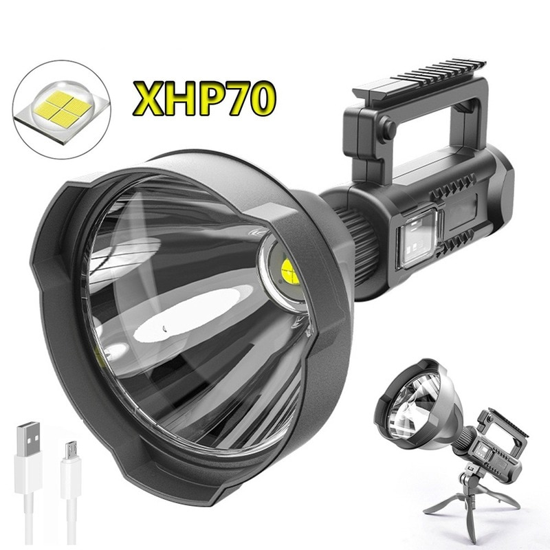 P90 Strong Light Searchlight Outdoor Multi-Function Lighting LED Flashlight Long-Range Waterproof Rechargeable Portable Lamp led chargeable light outdoor plaza stadium mobile emergencyportable searchlight with sos waring lighting