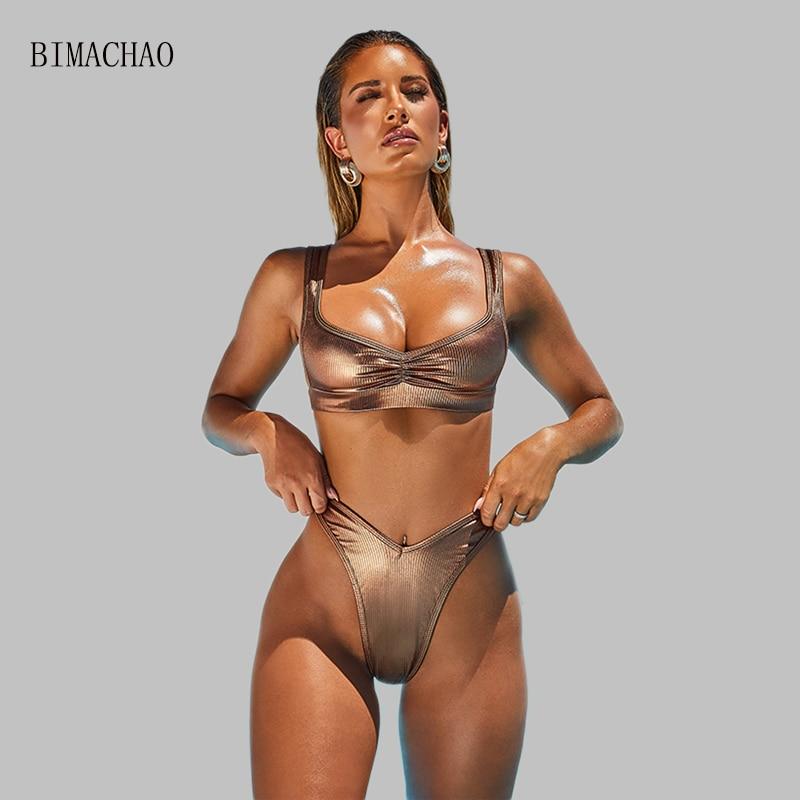 BIMACHAO 2020 Women's Sexy Bronzing Fabric Bikini Swimsuit Two Pieces Swimsuit Summer Bathing Suit Beach Girl Wading Suit