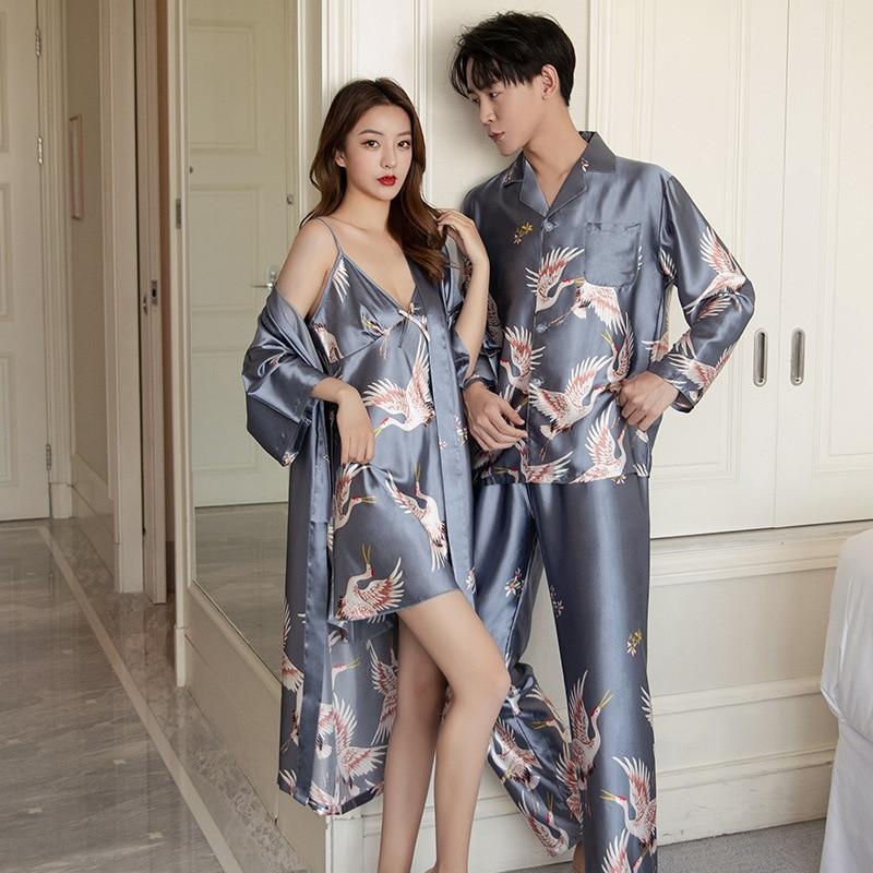 Пижама костюм мужчины женщины +атлас пижамы комплекты пара одежда для сна семья пижама любовник ночь костюм мужчины 26% женщины пижамы халат 26% платье