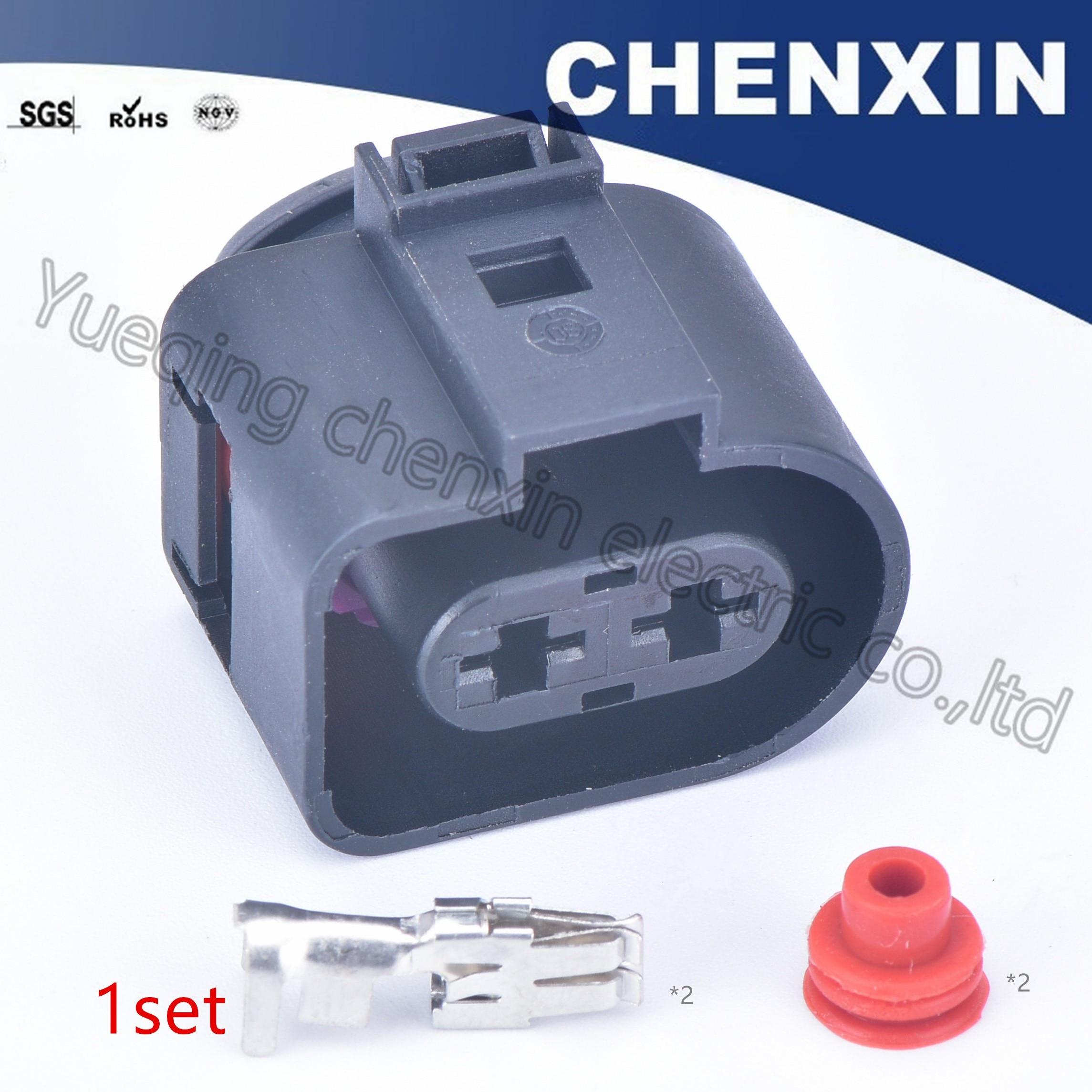Conector negro de 2 pines para coche, impermeable, Conector de ventilador electrónico hembra 6,3 1J0 973 752 1J0973752, conector de inyección de combustible
