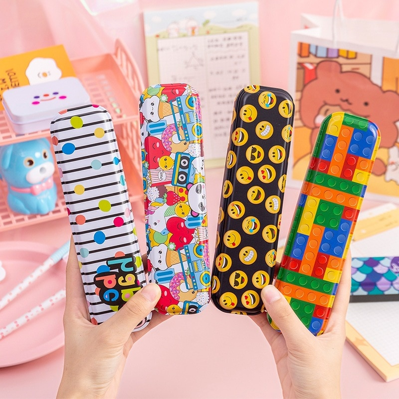 Simple Metal stationery box Cute pencil case Kawaii school Pencil cases gifts for children student pen case Color Storage box portable fruit silicone stationery box cute pencil case kawaii school pencil cases gifts for girls student pen case storage bag