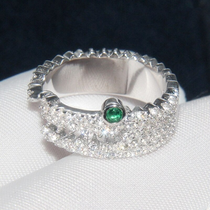 Anillo abierto de cocodrilo blanco, anillo de Plata de Ley 925 con ojos verdes, anillo de circón pavimentado para dedo, joyería para fiesta y boda para mujer
