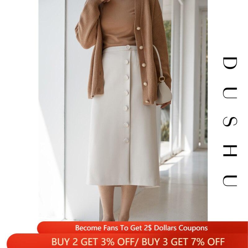 دوشو زر حتى الأبيض التفاف تنورة طويلة النساء حجم كبير مثير انقسام تنورة عالية الخصر الإناث الخريف الشتاء أنيقة ألف خط تنورة 2020