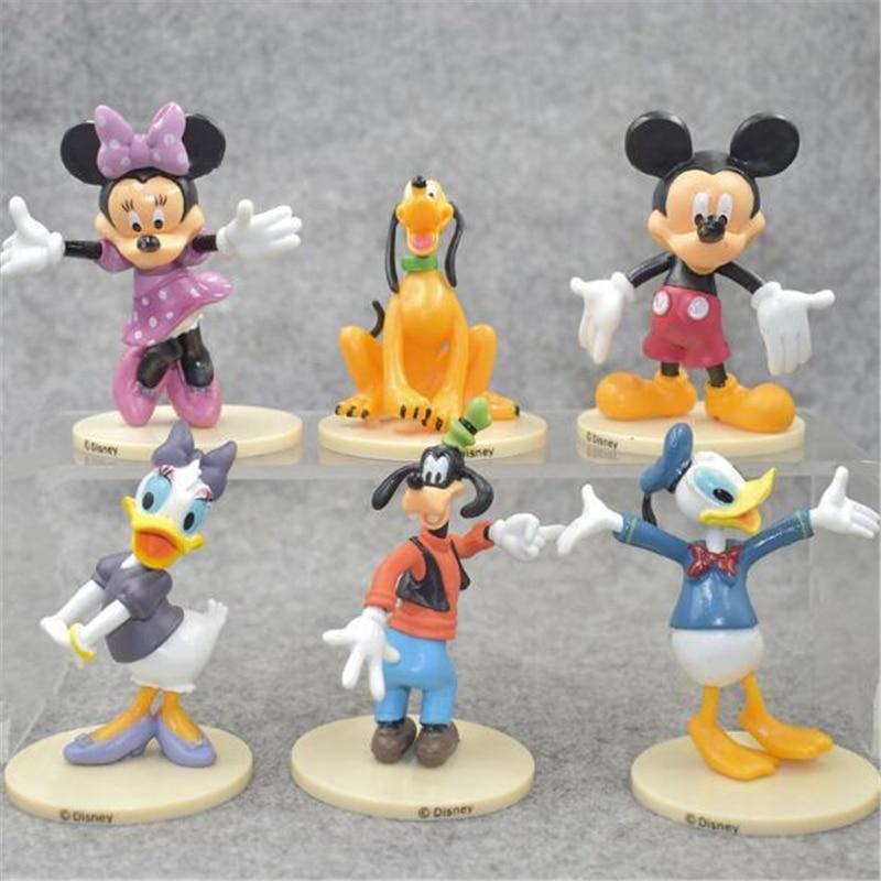 Disney Mickey Minnie Pato Donald Goofy juguete muñecas torta decoración DIY torta herramientas Baby Shower suministros de fiesta de cumpleaños torta Topper