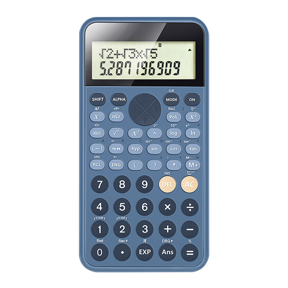 Calculadora de estudio científico dos expositor con líneas estudiante 12 dígitos portátil estudiantes herramienta de cálculo estacionaria