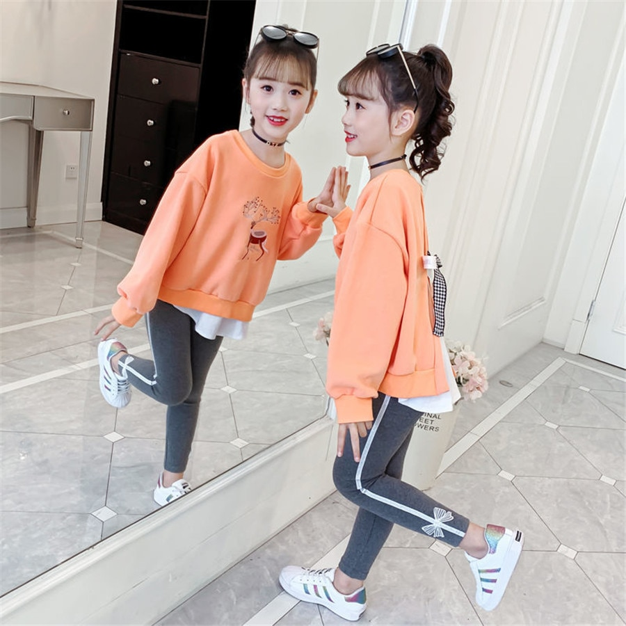 Spring Autumn Fashion Cotton Bow Solid Teen Girls Cothes Sets O - Neck Pullover Kids Girl Coat + Pants 2 Pcs Kids Clothing Suit