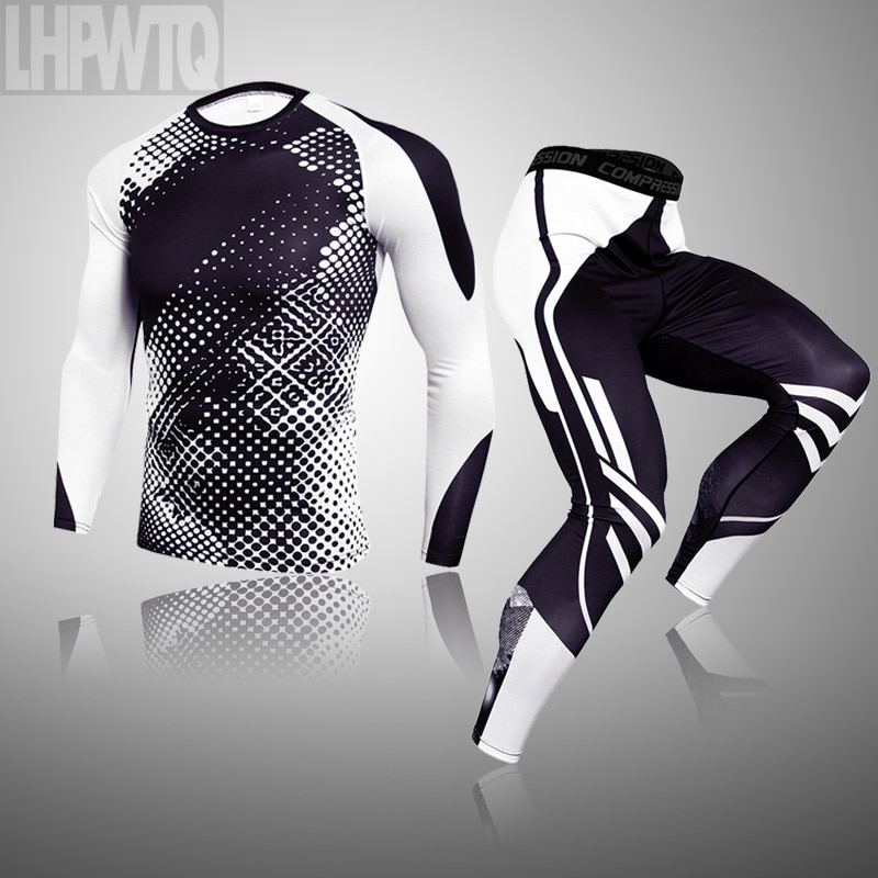 Marca de compressão masculina inverno conjunto de roupa interior térmica esportes masculinos básico quente longo roupa interior conjunto collants roupa interior quente