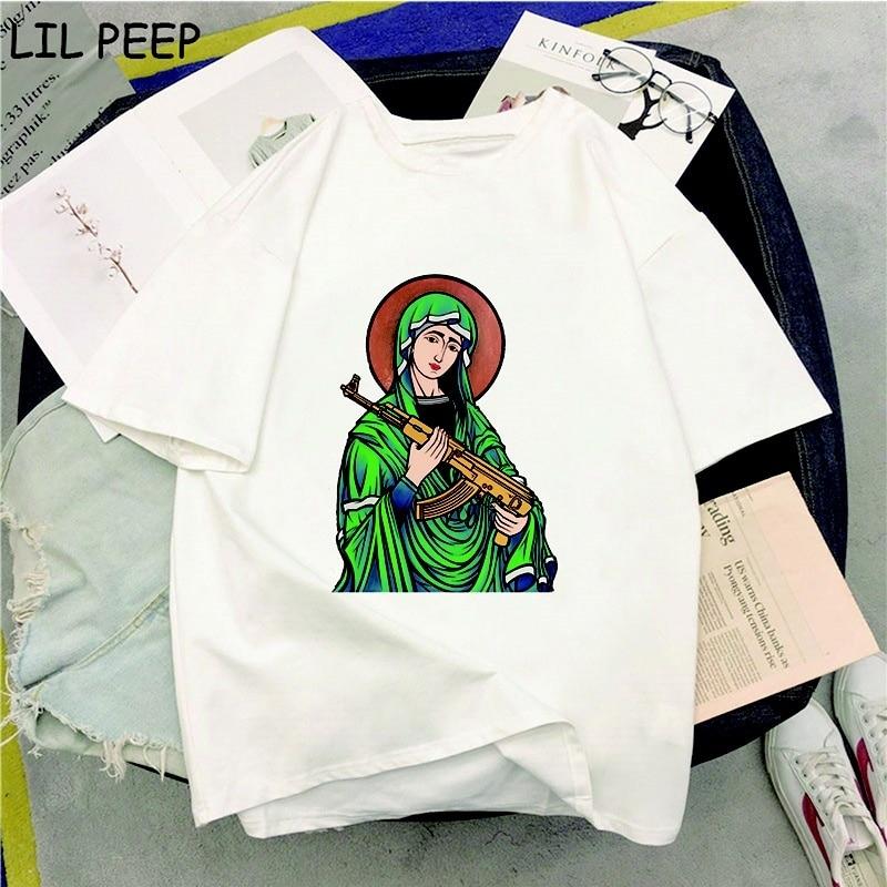 Summer Holy Mary With Gun Print Tee Shirt Femme Vintage Harajuku T Shirt Women Comfortable Tops aesthetic streetwear